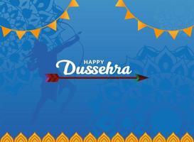 glückliche Dussehra Lord Ram Silhouette und Pfeil auf blauem Mandalas Hintergrundvektorentwurf