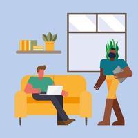 Männer mit Laptop arbeiten von zu Hause aus Vektor-Design