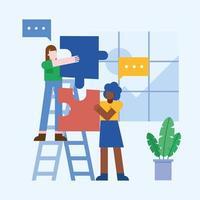 Teamwork-Konzept mit Frauen und Puzzles vektor