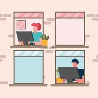 Frau und Mann arbeiten von zu Hause aus am Fenster