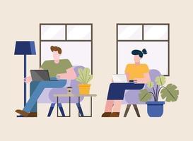 Frau und Mann arbeiten von zu Hause aus