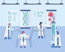 covid 19-virusvaccinforskning med kemister vektor