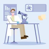 Coronavirus-Impfstoff-Forschungsdesign mit Chemikermann, der arbeitet vektor
