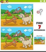 skillnader pedagogiskt spel för barn med glada hundar grupp vektor