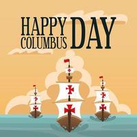 Schiffe für eine glückliche Columbus-Tagesfeier vektor