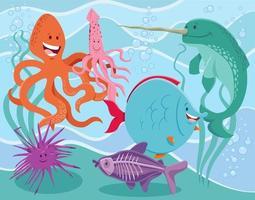 roliga tecknade marina djur karaktärer grupp vektor