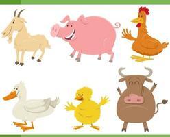 Cartoon lustige Bauernhoftier Charaktere gesetzt vektor