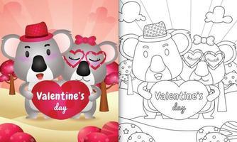 målarbok för barn med söta alla hjärtans dag koalapar illustrerad vektor