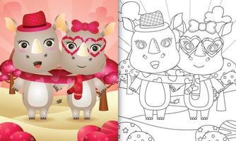 målarbok för barn med söt alla hjärtans dag noshörning par illustreras vektor