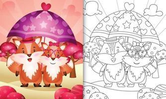 Malbuch für Kinder mit einem niedlichen Fuchspaar, das Regenschirm themenorientierten Valentinstag hält