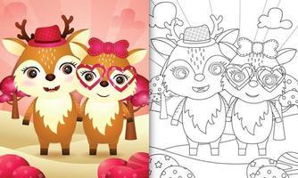 Malbuch für Kinder mit einem niedlichen Hirschpaar themenorientierten Valentinstag