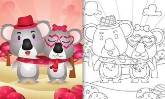 Malbuch für Kinder mit niedlichen Valentinstag Koala Paar illustriert