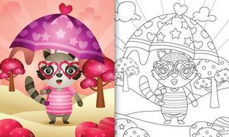 Malbuch für Kinder mit einem niedlichen Waschbären, der Regenschirm themenorientierten Valentinstag hält vektor