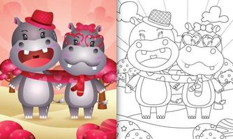 målarbok för barn med söta alla hjärtans dag flodhäst par illustrerad vektor