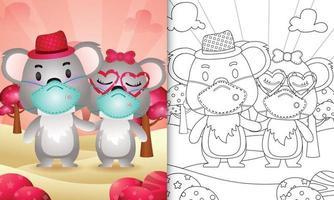 målarbok för barn med söta alla hjärtans dag-koalapar med skyddande ansiktsmask vektor