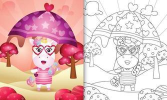 Malbuch für Kinder mit einem niedlichen Einhorn, das Regenschirm themenorientierten Valentinstag hält vektor