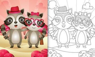 målarbok för barn med en söt tvättbjörn par tema alla hjärtans dag vektor