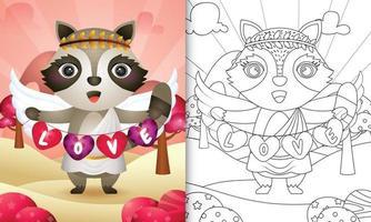 Malbuch für Kinder mit einem niedlichen Waschbärengel unter Verwendung des Amor-Kostüms, das Herzformfahne hält