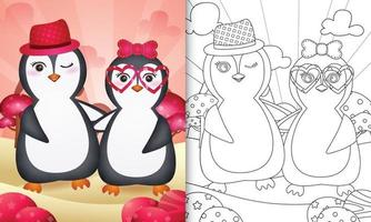 Malbuch für Kinder mit einem niedlichen Pinguinpaar themenorientierten Valentinstag vektor