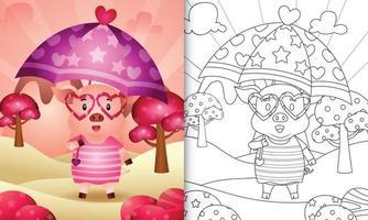 Malbuch für Kinder mit einem niedlichen Schwein, das Regenschirm themenorientierten Valentinstag hält vektor