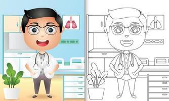Malbuch für Kinder mit einer niedlichen Jungenarztcharakterillustration
