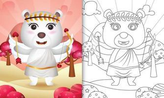 målarbok för barn med en söt isbjörnängel med valentindag med cupiddräkt vektor