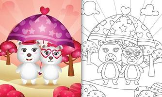 Malbuch für Kinder mit einem niedlichen Eisbärenpaar, das Regenschirm themenorientierten Valentinstag hält vektor