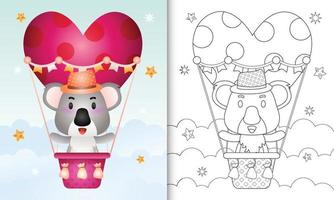 målarbok för barn med en söt koalahane på varmluftsballong älskar alla hjärtans dag vektor