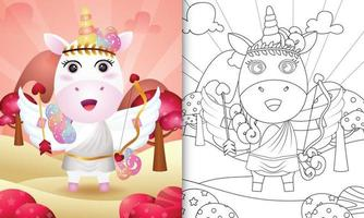 målarbok för barn med en söt enhörningsängel med valentindag med cupiddräkt vektor