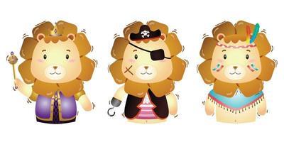 vektor tecknad uppsättning söta kung, pirater och apache lejon