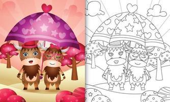 Malbuch für Kinder mit einem niedlichen Büffelpaar, das Valentinstag unter dem Motto Regenschirm hält