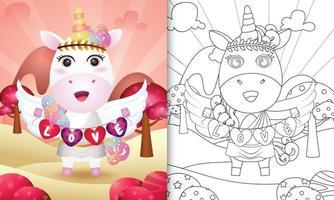 Malbuch für Kinder mit einem niedlichen Einhorn-Engel unter Verwendung des Amor-Kostüms, das Herzform-Flagge hält