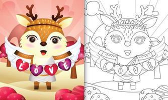 Malbuch für Kinder mit einem niedlichen Hirschengel unter Verwendung des Amor-Kostüms, das Herzformflagge hält