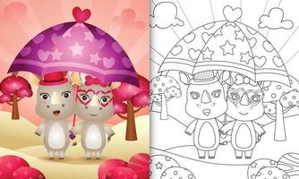 Malbuch für Kinder mit einem niedlichen Nashornpaar, das Regenschirm themenorientierten Valentinstag hält vektor