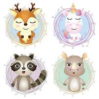uppsättning söta djur tecknade i kvistar, karaktären av söta rådjur, enhörning, tvättbjörn och noshörning vektor