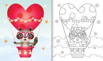 Malbuch für Kinder mit einer niedlichen Waschbärfrau am Heißluftballon lieben themenorientierten Valentinstag vektor