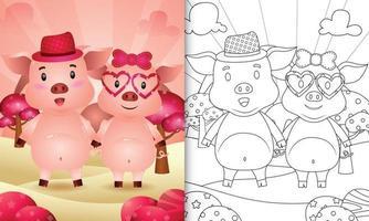 Malbuch für Kinder mit einem niedlichen Schweinepaar themenorientierten Valentinstag vektor