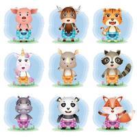 uppsättning söta djur tecknad, karaktären av söt gris, yak, tiger, enhörning, noshörning, tvättbjörn, flodhäst, panda och räv vektor