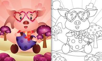 Malbuch für Kinder mit einem niedlichen Schwein, das Herz themenorientierten Valentinstag umarmt vektor
