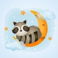 söt tvättbjörn som sover på månen vektor