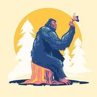 Gehen Bigfoot oder Sasquatch spielen mit Schmetterling Vektor-Illustration vektor