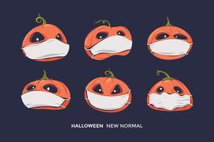 Set von Halloween beängstigenden Kürbissen mit Ausdruck und Gesundheitsmaske für gesunde Protokoll Corona Virus Pandemie vektor