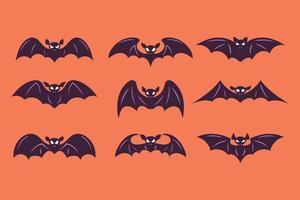 uppsättning halloween bat vektor