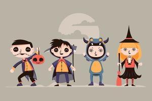 uppsättning av söta halloween unge karaktär med kostym vektor