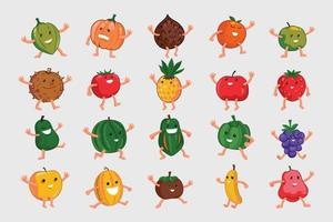uppsättning tecknad fruktuppsättning vektor