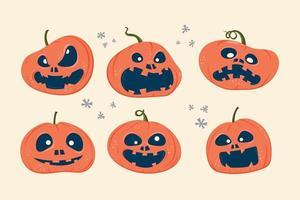 uppsättning halloween läskiga pumpor med uttryck