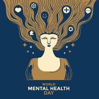 världens mentala hälsodagskoncept vektor