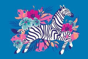 wildes Zebra mit exotischem tropischem Blumenhintergrund vektor