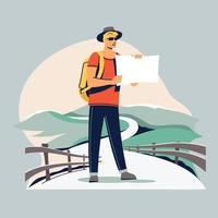 junger Tourist mit einem Rucksack zu Fuß vektor