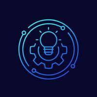 lösning linje ikon med glödlampa vektor